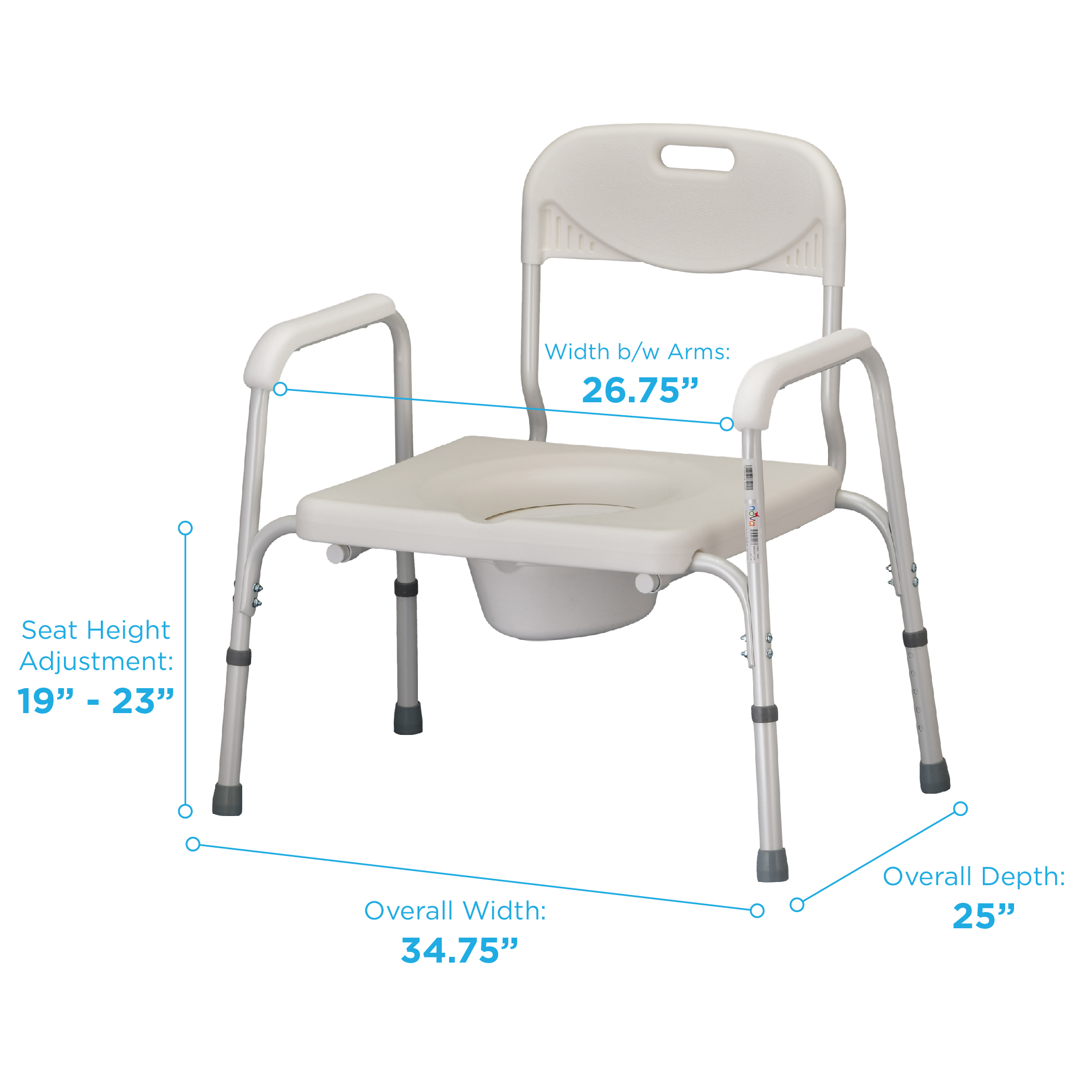 Aluminum Shower Chair Heavy-Duty 500 lbs Height-Adjustable Toilet chair Folding Commode Chair with casters Portable